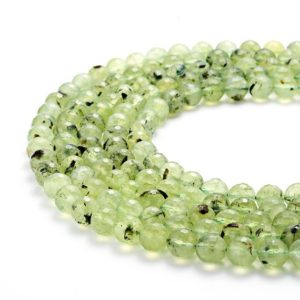 Shop Prehnite Beads! Faceted Prehnite Gemstone Round Beads 15.5 Inches Per Strand.Size 6/8/10/mm GEM-HY07301805 | Natural genuine beads Prehnite beads for beading and jewelry making.  #jewelry #beads #beadedjewelry #diyjewelry #jewelrymaking #beadstore #beading #affiliate