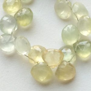 Shop Prehnite Bead Shapes! Prehnite Beads Prehnite Faceted Heart Beads, Prehnite Briolette, 10mm, 4 Inch Strand, 17 Pieces Approx., Prehnite Wholesale | Natural genuine other-shape Prehnite beads for beading and jewelry making.  #jewelry #beads #beadedjewelry #diyjewelry #jewelrymaking #beadstore #beading #affiliate #ad