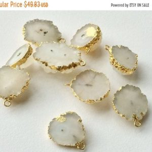 Shop Quartz Chip & Nugget Beads! On sale 65% Raw Solar Quartz Connectors, Raw Solar Quartz Gold Connectors, Rough Solar Quartz Necklace Connector, Single Loop, 20-35mm, 2 Pi | Natural genuine chip Quartz beads for beading and jewelry making.  #jewelry #beads #beadedjewelry #diyjewelry #jewelrymaking #beadstore #beading #affiliate #ad