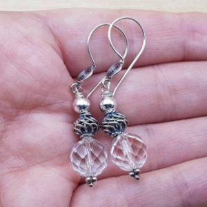Shop Quartz Crystal Earrings! Clear quartz earrings. Bali silver bead earrings. April birthstone. Crystal Reiki jewelry uk. | Natural genuine Quartz earrings. Buy crystal jewelry, handmade handcrafted artisan jewelry for women.  Unique handmade gift ideas. #jewelry #beadedearrings #beadedjewelry #gift #shopping #handmadejewelry #fashion #style #product #earrings #affiliate #ad