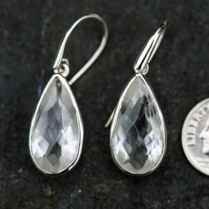 Shop Quartz Crystal Earrings! Clear Quartz Dangle Earrings, Crystal Quartz, Crystal Clear Quartz Checkerboard Clear Quartz earrings – Clear Quartz Dangle Earrings Crystal | Natural genuine Quartz earrings. Buy crystal jewelry, handmade handcrafted artisan jewelry for women.  Unique handmade gift ideas. #jewelry #beadedearrings #beadedjewelry #gift #shopping #handmadejewelry #fashion #style #product #earrings #affiliate #ad