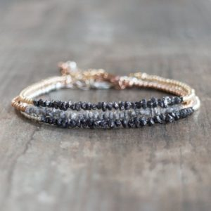 Shop Diamond Jewelry! Raw Diamond Bracelet In Sterling, Rose Gold Or 14k Gold Filled, April Birthday Gift For Wife | Natural genuine Diamond jewelry. Buy crystal jewelry, handmade handcrafted artisan jewelry for women.  Unique handmade gift ideas. #jewelry #beadedjewelry #beadedjewelry #gift #shopping #handmadejewelry #fashion #style #product #jewelry #affiliate #ad