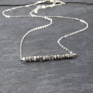 Shop Diamond Necklaces! Raw Diamond Necklace, Mothers Day Gift from Daughter, Boho Chic Jewelry, April Birthday Gifts for Her, Gray Diamond Jewelry Bridesmaid Gift | Natural genuine Diamond necklaces. Buy crystal jewelry, handmade handcrafted artisan jewelry for women.  Unique handmade gift ideas. #jewelry #beadednecklaces #beadedjewelry #gift #shopping #handmadejewelry #fashion #style #product #necklaces #affiliate #ad