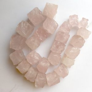 Raw Raw Rose Quartz Beads, Natural Hammered Rough Rose Quartz Gemstone Beads, 10-16mm Approx, 10 Inch Strand, SKU-Rg36 | Natural genuine chip Rose Quartz beads for beading and jewelry making.  #jewelry #beads #beadedjewelry #diyjewelry #jewelrymaking #beadstore #beading #affiliate #ad