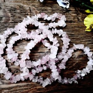 Shop Rose Quartz Chip & Nugget Beads! Raw Rose Quartz Chips Beads 5-8 mm 36 inches Cut Rough Gemstone Pebble Natural Pink Mineral Gem Strand Nugget Tumbled Irregular Gems | Natural genuine chip Rose Quartz beads for beading and jewelry making.  #jewelry #beads #beadedjewelry #diyjewelry #jewelrymaking #beadstore #beading #affiliate #ad
