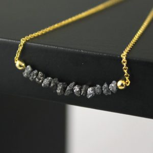 Shop Diamond Necklaces! Raw Uncut Diamond Necklace – Mother's Day Gift – Raw Diamond Bar Necklace – April Birthstone Gift Necklace – Conflict Free Diamonds | Natural genuine Diamond necklaces. Buy crystal jewelry, handmade handcrafted artisan jewelry for women.  Unique handmade gift ideas. #jewelry #beadednecklaces #beadedjewelry #gift #shopping #handmadejewelry #fashion #style #product #necklaces #affiliate #ad