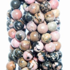 "Shop Rhodonite Round Beads! Genuine Black Veined Rhodonite Beads – Round 6 mm Gemstone Beads – Full Strand 15 1/2"", 63 beads, A+ Quality 