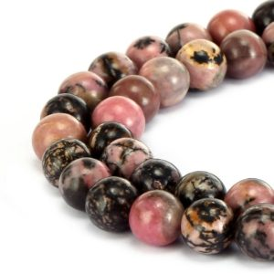 "Rhodonite Smooth Round Beads 4mm 6mm 8mm 10mm 12mm 15.5"" Strand 
