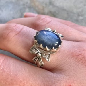 Shop Kyanite Rings! Ribbon Ring, Kyanite Ring, Blue Kyanite, Natural Kyanite, Blue Kyanite Ring, Blue Ribbon Ring, Vintage Ring, Solid Silver Ring, Kyanite | Natural genuine gemstone jewelry in modern, chic, boho, elegant styles. Buy crystal handmade handcrafted artisan art jewelry & accessories. #jewelry #beaded #beadedjewelry #product #gifts #shopping #style #fashion #product
