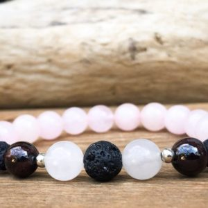 Shop Rose Quartz Bracelets! Essential Oil Diffuser Bracelet with Rose Quartz and Lava Beads  – Aromatherapy Wrist Mala | Natural genuine Rose Quartz bracelets. Buy crystal jewelry, handmade handcrafted artisan jewelry for women.  Unique handmade gift ideas. #jewelry #beadedbracelets #beadedjewelry #gift #shopping #handmadejewelry #fashion #style #product #bracelets #affiliate #ad