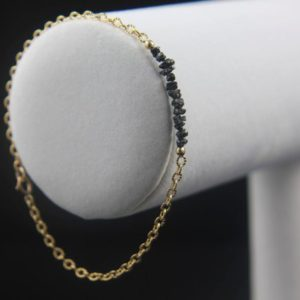 Shop Diamond Bracelets! Rough Diamond Bracelet – Tough Diamond Bur Bracelet – 14k Gold Filled Ribbed Chain – Black Raw Diamonds – Bridesmaid Gift, Wedding | Natural genuine Diamond bracelets. Buy handcrafted artisan wedding jewelry.  Unique handmade bridal jewelry gift ideas. #jewelry #beadedbracelets #gift #crystaljewelry #shopping #handmadejewelry #wedding #bridal #bracelets #affiliate #ad