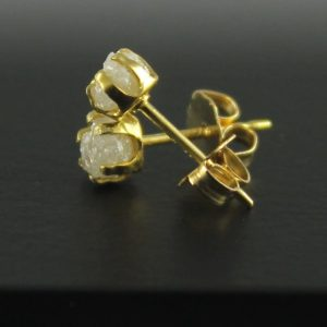 Rough Diamond Earrings – 14K Gold Filled Ear Stud, 4mm – White Raw Uncut Diamonds – Conflict Free Natural Diamonds | Natural genuine Diamond earrings. Buy crystal jewelry, handmade handcrafted artisan jewelry for women.  Unique handmade gift ideas. #jewelry #beadedearrings #beadedjewelry #gift #shopping #handmadejewelry #fashion #style #product #earrings #affiliate #ad
