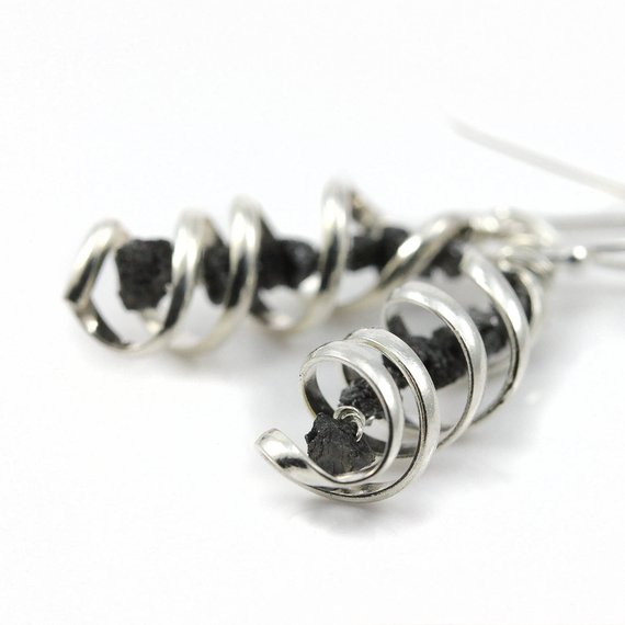 Rough Diamonds Earrings - Mother's Day Gift - Sterling Silver Spiral Pendant - Dangled Black Raw Diamonds Earrings - April Birthstone