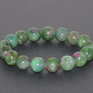 Shop Ruby Zoisite Bracelets! Ruby Zoisite Bracelet Handmade Grade AAA Large 11mm Anyolite Beaded Gemstone Bracelet Red Pink Ruby in Green Zoisite Bracelet Stack Bracelet | Natural genuine Ruby Zoisite bracelets. Buy crystal jewelry, handmade handcrafted artisan jewelry for women.  Unique handmade gift ideas. #jewelry #beadedbracelets #beadedjewelry #gift #shopping #handmadejewelry #fashion #style #product #bracelets #affiliate #ad