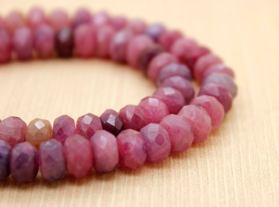 Red Ruby Natural Faceted Rondelle Beads Gemstone (3mm X 5mm, 5mm X 6mm, 5mm X 8mm, 5mm X 10mm, 5mm X 12mm, 6mm X 14mm)