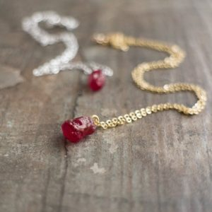 Shop Ruby Necklaces! Raw Ruby Necklace, July Birthstone, Christmas Gift for Girlfriend, Raw Crystal Necklace | Natural genuine Ruby necklaces. Buy crystal jewelry, handmade handcrafted artisan jewelry for women.  Unique handmade gift ideas. #jewelry #beadednecklaces #beadedjewelry #gift #shopping #handmadejewelry #fashion #style #product #necklaces #affiliate #ad