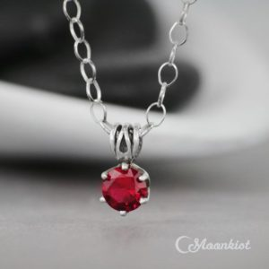 Shop Ruby Pendants! Ruby Pendant – Sterling Silver Ruby Necklace – Single Stone Necklace – Red Gemstone Necklace – July Birthstone Necklace – 6 mm -Gift for Her | Natural genuine Ruby pendants. Buy crystal jewelry, handmade handcrafted artisan jewelry for women.  Unique handmade gift ideas. #jewelry #beadedpendants #beadedjewelry #gift #shopping #handmadejewelry #fashion #style #product #pendants #affiliate #ad