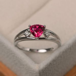 Shop Ruby Rings! Anniversary ring, ruby ring, trillion cut red gemstone, July birthstone, sterling silver ring | Natural genuine Ruby rings, simple unique handcrafted gemstone rings. #rings #jewelry #shopping #gift #handmade #fashion #style #affiliate #ad
