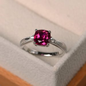 Cocktail rings, ruby silver rings, cushion cut red gems, silver rings, July birthstone rings | Natural genuine Gemstone rings, simple unique handcrafted gemstone rings. #rings #jewelry #shopping #gift #handmade #fashion #style #affiliate #ad
