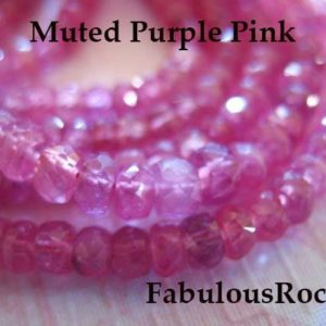 Shop Sapphire Faceted Beads! 1/2 Strand – Pink SAPPHIRE Rondelles Gemstone Beads – Muted Purple Pink, Luxe AAA, 4-4.5 mm / Faceted Non Heated Natural Gems tr s solo | Natural genuine faceted Sapphire beads for beading and jewelry making.  #jewelry #beads #beadedjewelry #diyjewelry #jewelrymaking #beadstore #beading #affiliate #ad
