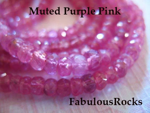 1/2 Strand - Pink Sapphire Rondelles Gemstone Beads - Muted Purple Pink, Luxe Aaa, 4-4.5 Mm / Faceted Non Heated Natural Gems Tr S Solo