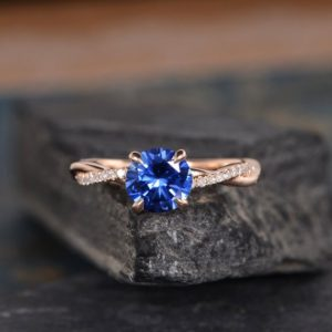 Shop Sapphire Rings! Lab Sapphire Engagement Ring Rose Gold September Birthstone Twist Solitaire Ring Diamond Infinity Half Eternity Bridal Women Anniversary | Natural genuine Sapphire rings, simple unique alternative gemstone engagement rings. #rings #jewelry #bridal #wedding #jewelryaccessories #engagementrings #weddingideas #affiliate #ad