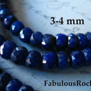 Shop Sapphire Rondelle Beads! 10-50 pcs / 3.5-4 mm, SAPPHIRE Beads Rondelle Gems Gemstones / Dyed Rondelles, Medium Dark Blue, Luxe AAA / september birthstone dsa tr s 34 | Natural genuine rondelle Sapphire beads for beading and jewelry making.  #jewelry #beads #beadedjewelry #diyjewelry #jewelrymaking #beadstore #beading #affiliate #ad