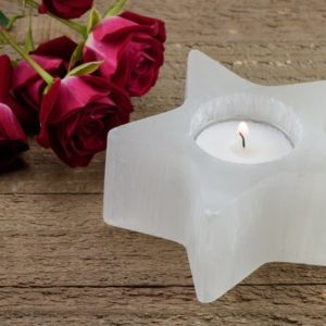 "Shop Selenite Shapes! White SELENITE Star Candle Holder – 3.5"" Crystal Votive Holder,  Selenite Crystal Slab E1226 