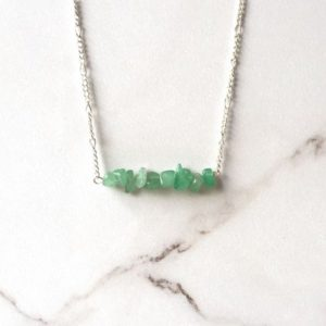 Shop Aventurine Necklaces! Silver Green Aventurine Crystal Necklace – Bar Necklace – Raw Aventurine Necklace – Raw Crystal Jewelry – Aventurine Chip Beads – Birthstone | Natural genuine gemstone jewelry in modern, chic, boho, elegant styles. Buy crystal handmade handcrafted artisan art jewelry & accessories. #jewelry #beaded #beadedjewelry #product #gifts #shopping #style #fashion #product