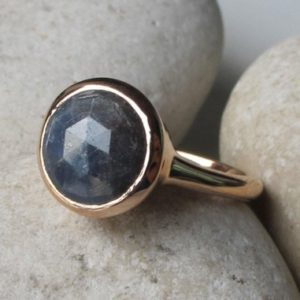 Simple Raw Sapphire Engagement Ring- Blue Sapphire Round Promise Ring- Blue Faceted Rough Stone Anniversary Ring- Rose Gold September Ring | Natural genuine Array rings, simple unique alternative gemstone engagement rings. #rings #jewelry #bridal #wedding #jewelryaccessories #engagementrings #weddingideas #affiliate #ad