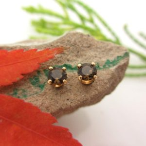Shop Smoky Quartz Earrings! Smoky Quartz Studs – Smoky Quartz Stud Earrings in Real 14k Yellow Gold, 4mm | Natural genuine Smoky Quartz earrings. Buy crystal jewelry, handmade handcrafted artisan jewelry for women.  Unique handmade gift ideas. #jewelry #beadedearrings #beadedjewelry #gift #shopping #handmadejewelry #fashion #style #product #earrings #affiliate #ad