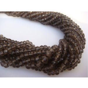 Shop Smoky Quartz Faceted Beads! Smoky Quartz, Micro Faceted Rondelle Beads – 13 Inch Strand – 3mm Each | Natural genuine faceted Smoky Quartz beads for beading and jewelry making.  #jewelry #beads #beadedjewelry #diyjewelry #jewelrymaking #beadstore #beading #affiliate #ad