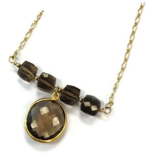 Shop Smoky Quartz Pendants! Brown Necklace – Smoky Quartz Jewelry – Bead Bar Jewellery – Yellow Gold – Pendant – Chain N-206 | Natural genuine Smoky Quartz pendants. Buy crystal jewelry, handmade handcrafted artisan jewelry for women.  Unique handmade gift ideas. #jewelry #beadedpendants #beadedjewelry #gift #shopping #handmadejewelry #fashion #style #product #pendants #affiliate #ad