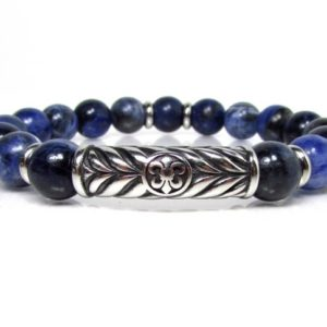 Shop Sodalite Bracelets! Sodalite Bracelet With 316l Stainless Steel, Handmade Bracelet, fleur De Lys Bracelet, mens Beaded Bracelet, mens Gift, men Gemstone Bracelet | Natural genuine Sodalite bracelets. Buy handcrafted artisan men's jewelry, gifts for men.  Unique handmade mens fashion accessories. #jewelry #beadedbracelets #beadedjewelry #shopping #gift #handmadejewelry #bracelets #affiliate #ad