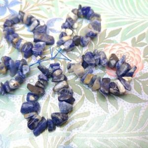 Shop Sodalite Chip Beads! Sodalite Nugget Beads 10 x 6 mm approx / Blue Marble Gemstone Beads / Denim Blue Beads / 20 Blue White chip Beads / Sodalite Natural Beads | Natural genuine chip Sodalite beads for beading and jewelry making.  #jewelry #beads #beadedjewelry #diyjewelry #jewelrymaking #beadstore #beading #affiliate