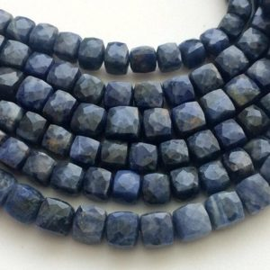 Sodalite Cube Beads, Natural Sodalite Faceted Box Beads, Blue Sodalite Necklace, 6.5-8mm, 4 Inch 15 Pcs – GSA76 | Natural genuine other-shape Sodalite beads for beading and jewelry making.  #jewelry #beads #beadedjewelry #diyjewelry #jewelrymaking #beadstore #beading #affiliate #ad