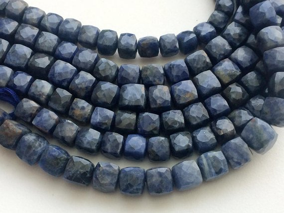 6.5-8mm Sodalite Faceted Cube Beads, Natural Sodalite Faceted Box Beads, Blue Sodalite Beads For Necklace (4in To 8in Options) - Gsa76