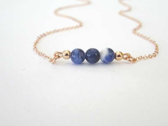 Sodalite Necklace, Dainty Natural Stone Necklace, Sodalite Pendant, Healing Crystal Jewelry, Anxiety Necklace Laminijewelry