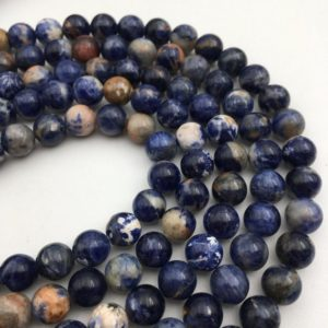 "Shop Sodalite Round Beads! Gorgeous Orange Sodalite Genuine Smooth Round Loose Beads Size 6mm / 8mm / 10mm 15.5"" Long Per Strand.r-s-sod-0195 