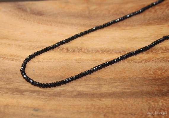 Black Spinel Necklace, Black Spinel Jewelry, Sterling Silver, Minimalist, Beaded, Layering Necklace