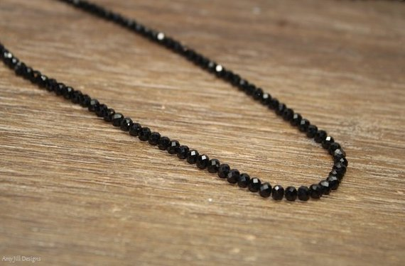 Black Spinel Necklace, Black Spinel Jewelry, Sterling Silver, Layering, Beaded, Layering Necklace, 4mm, Womens, Mens, Unisex