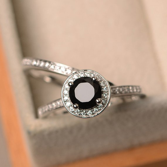 Black Spinel Ring, Silver Engagement Ring, Round Cut Black Ring, Party Ring For Women, Halo Ring Set