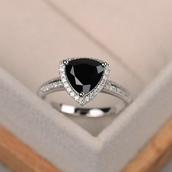 Black Spinel Ring, Trillion Cut Black Rings, Gemstone Ring Black, Sterling Silver Ring