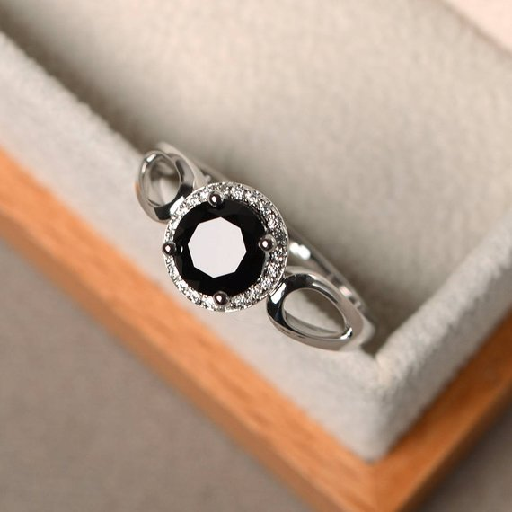 Natural Black Spinel Rings, Unique Engagement Rings, Round Cut Rings, Silver Rings, Black Gemstone
