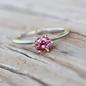 Romantic Pink Spinel Engagement Ring 14k White Gold Milgrain Detail Traditional 6 Prong Bridal Band Sparkly Bright Gemstone – Blush Twinkle | Natural genuine Spinel rings, simple unique alternative gemstone engagement rings. #rings #jewelry #bridal #wedding #jewelryaccessories #engagementrings #weddingideas #affiliate #ad