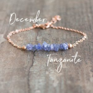Raw Tanzanite Bracelet, Raw Stone Bracelet, December Birthstone Bracelet, Raw Birthstone Jewelry, Birthday Gifts for Women | Natural genuine Tanzanite bracelets. Buy crystal jewelry, handmade handcrafted artisan jewelry for women.  Unique handmade gift ideas. #jewelry #beadedbracelets #beadedjewelry #gift #shopping #handmadejewelry #fashion #style #product #bracelets #affiliate #ad