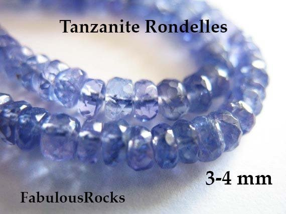 5-100 Pcs / 3-4 Mm Tanzanite Beads Rondelle Gemstones Semiprecious Gems  / Periwinkle Blue, Faceted, December Birthstone Brides 34 Solo