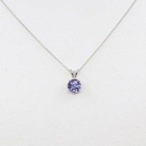 Shop Tanzanite Jewelry! Solitaire Tanzanite Necklace.7mm Aa+ Natural Round Necklace.women's Simple Necklace.dainty Necklace.14k White Gold Necklace. | Natural genuine Tanzanite jewelry. Buy crystal jewelry, handmade handcrafted artisan jewelry for women.  Unique handmade gift ideas. #jewelry #beadedjewelry #beadedjewelry #gift #shopping #handmadejewelry #fashion #style #product #jewelry #affiliate #ad
