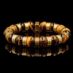 Shop Tiger Eye Bracelets! Tiger's Eye and 22 Karat Gold Beads Bracelet, Bracelet Men, Men's Gold Bracelet, Men's Bracelet, Men's Tiger's EyeBracelet, Luxury Bracelet | Natural genuine Tiger Eye bracelets. Buy crystal jewelry, handmade handcrafted artisan jewelry for women.  Unique handmade gift ideas. #jewelry #beadedbracelets #beadedjewelry #gift #shopping #handmadejewelry #fashion #style #product #bracelets #affiliate #ad