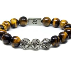 Shop Tiger Eye Bracelets! Tiger's Eye Bracelet, Bead Bracelets Men, Yellow Tigers Eye and Sterling Silver Bracelet, Bracelets for Men, Bracelet for Man, for Men | Natural genuine Tiger Eye bracelets. Buy handcrafted artisan men's jewelry, gifts for men.  Unique handmade mens fashion accessories. #jewelry #beadedbracelets #beadedjewelry #shopping #gift #handmadejewelry #bracelets #affiliate #ad